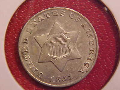 1851 Three Cent Silver - Nice Color - Au/unc - See Pics! - (X1623)