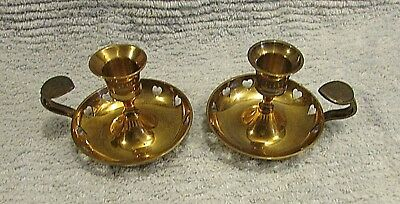 Pair vintage heavy solid brass finger grip candle holders stamped hearts FREE SH