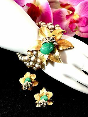 Stunning 1930-40's Art Nouveau Jade Rhinestone Floral Bracelet Clip Earrings Set