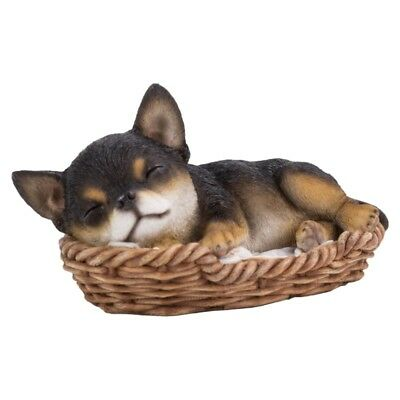 """Wicker Basket Pet Pals - Chihuahua Pup Figurine 7"""" - New In Box  Free Shipping"""