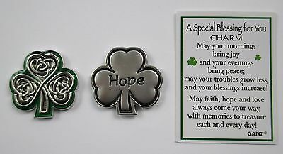bb Hope Irish shamrock celtic SPECIAL BLESSING FOR YOU Pocket Token Charm ganz