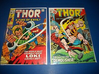 The Mighty Thor #191,192 Bronze age lot of 2 VG to Fine 1st Demolisher