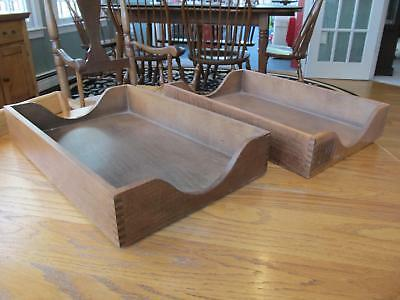 2 Vintage Dovetail Oak Wood Desk In Out Box Letter Tray Mail File Organizers