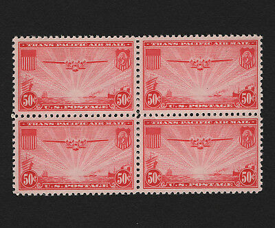 OPC 1937 US Airmail 50c Transpacific Block Sc#C22 MNH Gum Skip