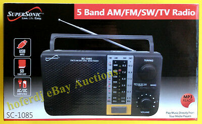 SuperSonic SC-1085 5 Band AM/FM/SW/TV Radio with USB SD MP3 Input Slots AC/DC