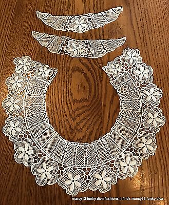Sweet Vintage White Hand Needle Lace Collar & Matching Cuffs Floral Motif