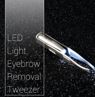 Eyebrow Tweezers Stainless Steel with LED light - New - UK Seller - Free P&P