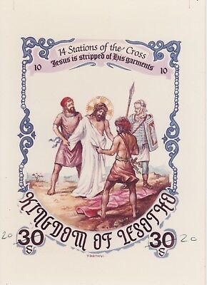 Lesotho 7212 - 1986 EASTER STATIONS of the CROSS #10 CROMALIN PROOF - UNIQUE