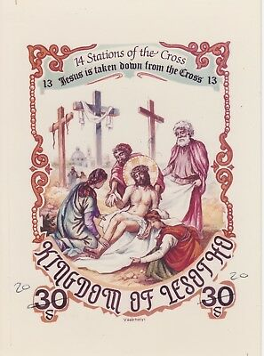 Lesotho 7215 - 1986 EASTER STATIONS of the CROSS #13 CROMALIN PROOF - UNIQUE