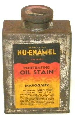 Vintage Nu-Enamel Oil Stain Metal Tin Can Full Never Opened