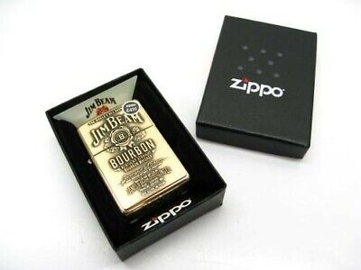 Zippo High Polish Brass Jim Beam Full Face Emblem Windproof Lighter 254BJB.929