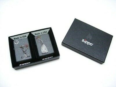 Zippo Iron Stone Skeleton Love Classic Windproof Lighter 2 Piece Combo Set 28987