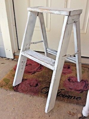Vintage Primitive Wooden Folding Step Ladder Stool Plant Stand Shabby Chic