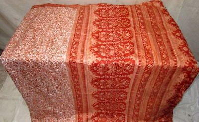 Off-white Rust Pure Silk 4 yard Vintage Sari Saree SALE DEAL on sale Home #G44WU