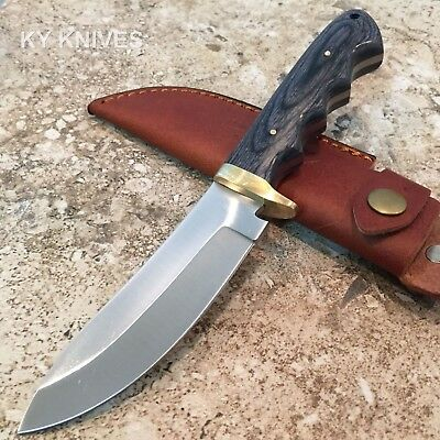 "9"" Grapple Skinner Hunting Knife Black Wood Handle, Leather Sheath DH-7983"