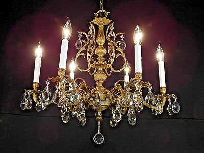 IMMENSE Antique 6 Arm 6 Lite UBER FUSSY French Brass Cut Lead Crystal Chandelier