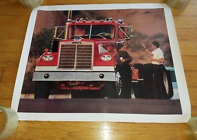Vintage 1970's White Motor Trucks Poster trucker trucking w/ 2 men talking