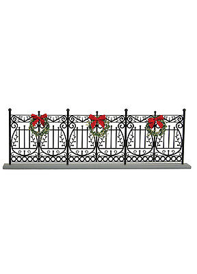 Authentic Byers Choice Black Decorative Fence w/Wreaths Winter Scene Accessory