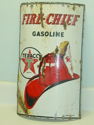 Vintage Advertising Fire Chief Gasoline, Texaco Pump, Porcelain Original Sign