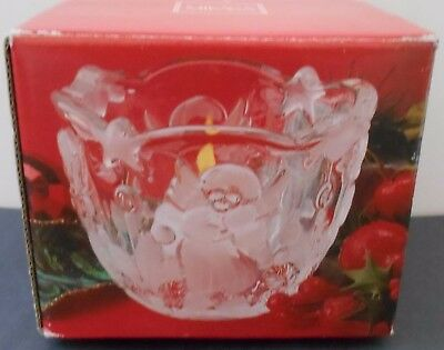 """Mikasa Holiday LIGHTS CANDLEHOLDER TEALIGHT VOTIVE  3"""" ANGELS TREES CLEAR GLASS"""