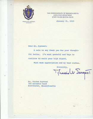 FRANCIS W. SARGENT SIGNED 1969 Massachusetts Governor Letter
