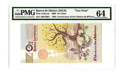 2009 Banco De Mexico Pmg 64 40Th Ann Fabrica De Billietes Specimen Test Note