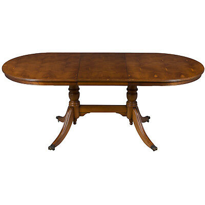 Antique Style Yew Wood Oval Extending Dining Room Table Self Storing Leaf Maple