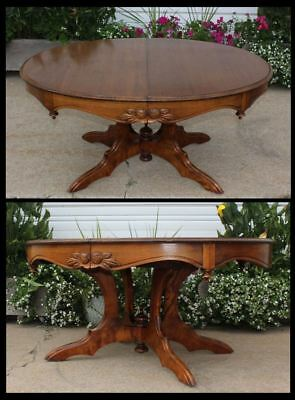 Victorian Walnut Oval Table Cut Down - Coffee Table Carved Roses Finials Vintage