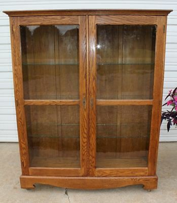 Antique Large Oak Country Store Clothing Book Case China Dish Display Cabinet