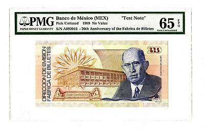 1989 Banco De Mexico Pmg 65 20Th Annv Fabrica De Billietes 'specimen Test Note'