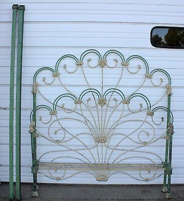 Antique Victorian Peacock Tail Feather Solid Iron Double Bed +Side Rails Vintage
