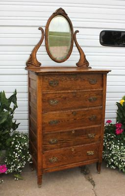 Solid Oak Oval Beveled Mirror High Boy Chest Dresser 5Dovetailed Drawers Antique