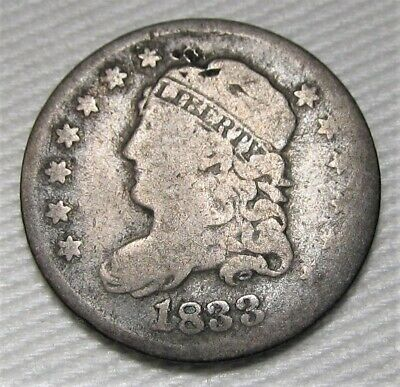 1833 Capped Bust Half Dime VG Coin Estate Piece AE214