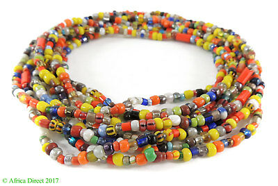 """3 Strands Christmas Trade Beads """"Love Beads"""" Africa 36 Inch SALE WAS $9.99"""