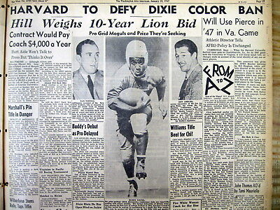 1947 Afro newspaper HARVARD FOOTBALL TEAM w 1st Negro to play v SOUTHERN COLLEGE