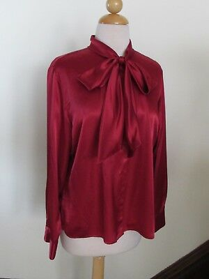 Vitg RED SATIN Stock Tie BLOUSE Long Sleeves Pussy Bow Polyester Laura Scott 14P