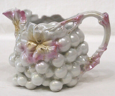 Vtg Unmarked Royal Bayreuth Blownout Luster Grape Pitcher