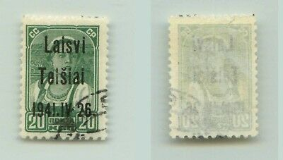 Lithuania Telsiai 1941 SC LT4 used IV instead VI . f3250