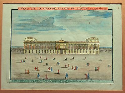 An Early 18th Century View of  The Louvre in Paris, Rare and Beautiful, Color