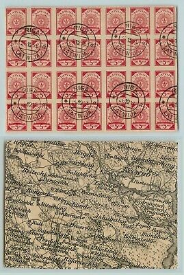 Latvia 1918 SC 1 used black and white map block of 28 . f2850