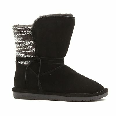 BEARPAW® Maggie Suede Sheepskin Boot Padded Insole NeverWet® BLACK 8 NEW 571-230