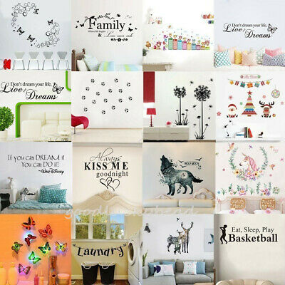 20Types Removable Vinyl Art DIY Quote Wall Decal Stickers Bedroom Decor Murals