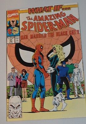 Marvel Comics What If # 21 The Amazing Spider Man Had Married Black Cat F+