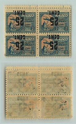 Lithuania 1922 SC C27a mint inverted block of 4 . d5563