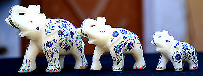 Lot of 3 Pcs Antique Marble Elephant Trunk Up Micro Mosaic Inlay Work Deco H1961