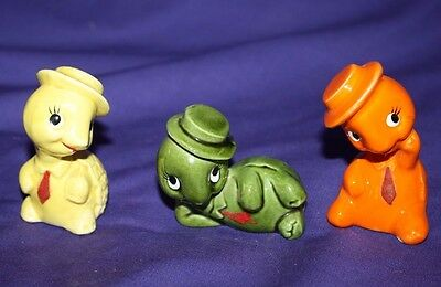 Set of 3 Turtle figurines ceramic INARCO Japan hat and tie