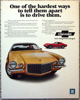 Magazine Advertisement Proof ~ 1970 Camaro
