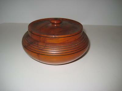 """Lovely Vintage Antique Hand Turned Wood Bowl With Lid ~ 6"""" Wide X 3"""" High"""