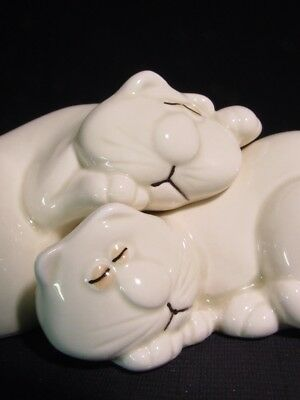 "Pair of Cats Napping ""Cat Nap"" Fitz & Floyd Ceramic Salt & Pepper Shakers"