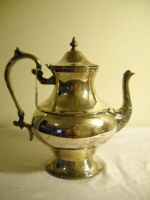 SILVER PLATED Tea Pot With FLIP TOP and ORNATE Leaf PATTERN on Spout & HANDLE